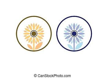Sunflower logo Template, Nature icon design vector illustration