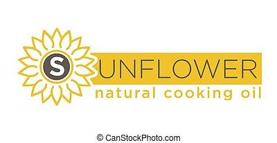 Sunflower natural cooking oil emblem of natural organic oil...