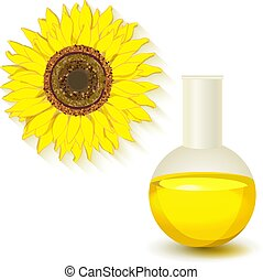Sunflower, oil flask isolated on white