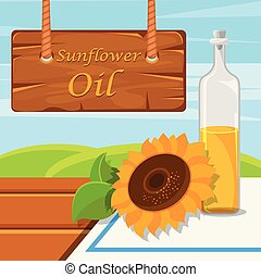 Sunflower oil, glass bottle of food oil on the rustic background vector Illustration design element for banner, poster