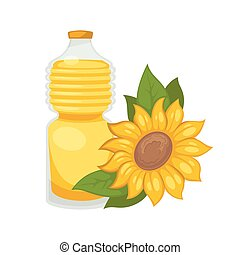 Sunflower oil in bottle. Vector flat isolated icon