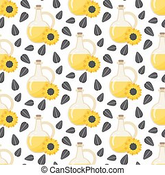 Sunflower oil vector seamless pattern
