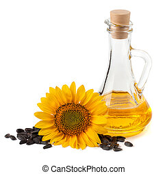 Sunflower oil with flower and seeds