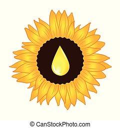 Sunflower oil yellow drop inside