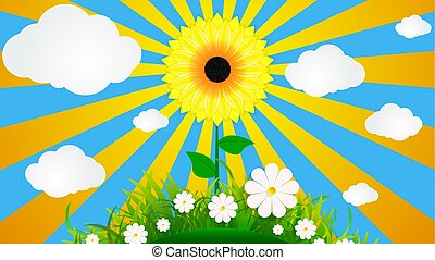 sunflower on a background of grass and sky