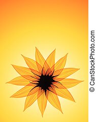 Sunflower on yellow vector background