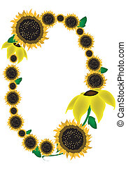 Sunflower Picture Frame Vector