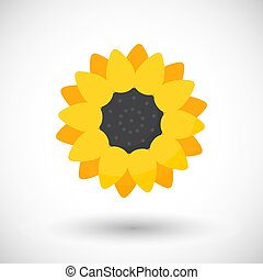 Sunflower plant vector flat icon