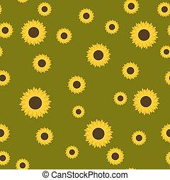 Sunflower seamless pattern vector illustration