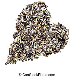 Sunflower seeds - A heart made by lot of sunflower seeds