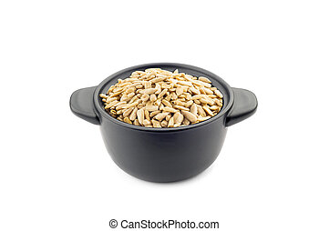 Sunflower Seeds in a Black Cup