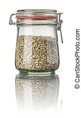 Sunflower seeds in a jar