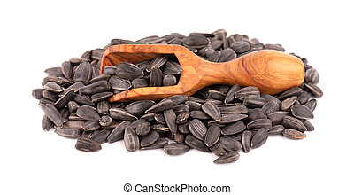 Sunflower seeds isolated on white background. Pile of fried sunflower seeds in wooden scoop.