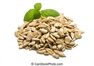 Sunflower seeds with mint on white