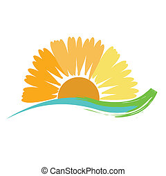 Sunflower Sunshine - A illustration of a sunset, using a...
