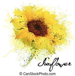 sunflower., vecteur, fond jaune, résumé