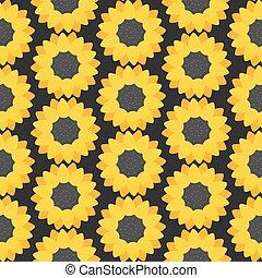 Sunflower vector flat seamless pattern