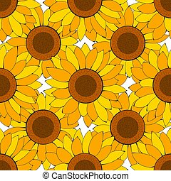 Sunflower Vector Floral Seamless Pattern For Your Design