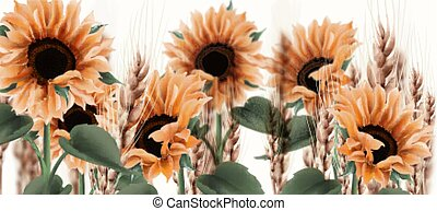 Sunflower watercolor background Vector. Vintage rustic style floral decors
