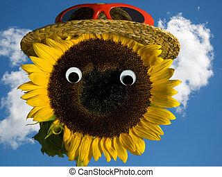 sunflower wearing hat