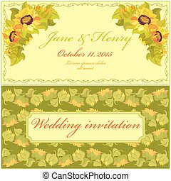 Sunflower Wedding Invitation. Vintage Vector Design.