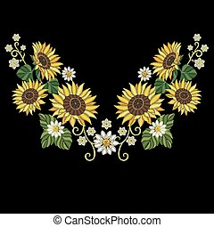 Sunflowers and daisy flowers bouquet - Embroidery design....