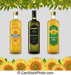 Sunflowers And Olive Oils Bottle Labels With Border Isolated Transparent Background