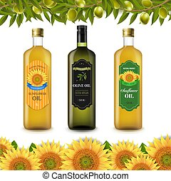 Sunflowers And Olive Oils Bottle Labels With Border Isolated White Background