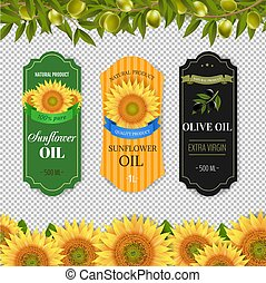 Sunflowers And Olive Oils Labels With Border Isolated Transparent Background