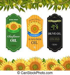 Sunflowers And Olive Oils Labels With Border Isolated White Background