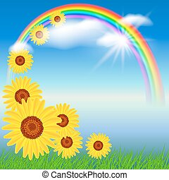 Sunflowers and rainbow