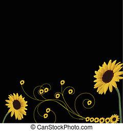 sunflowers border with swirls isolated on black background