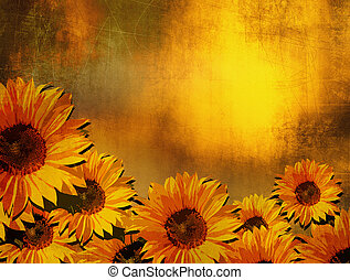 Grunge sunflower background - digitally processed photo with retro scratched oil painting look - vintage design.