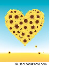 Sunflowers heart shape for your design, summer field