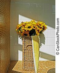 sunflowers in bathro