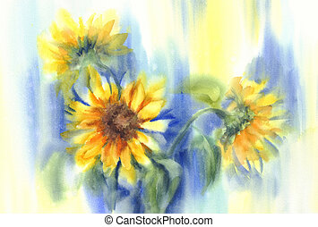 Sunflowers in blue background watercolor. Summer bloom