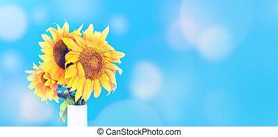 Sunflowers in white vase on blue sunny background banner