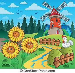 Sunflowers near windmill - eps10 vector illustration.