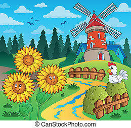 Sunflowers near windmill - eps10 vector illustration.