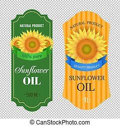 Sunflowers Oil Labels Isolated transparent Background