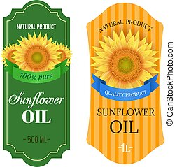 Sunflowers Oil Labels Isolated White Background