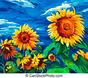 Original oil painting of sunflowers on canvas. Modern Impressionism