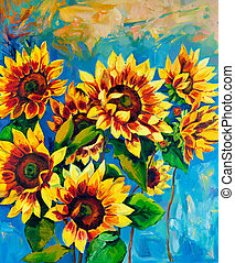 Sunflowers - Original oil painting of sunflowers on...
