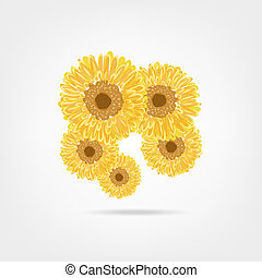 Sunflowers sketch for your design