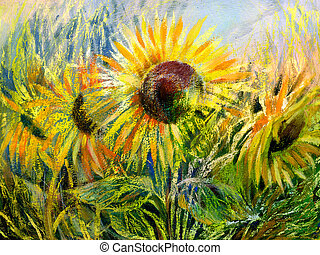 Sunflowers - The sunflowers drawn by gouache on a paper