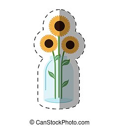 sunflowers vase decoration icon
