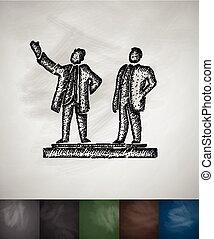 Sung and Kim Jong icon. Hand drawn vector illustration - Kim...