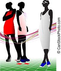sungl, silhouettes, femmes, trois