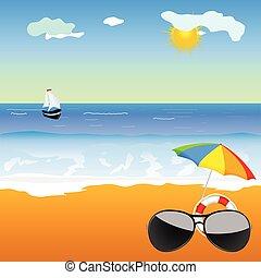 sunglass, 在海灘上, 矢量, 插圖
