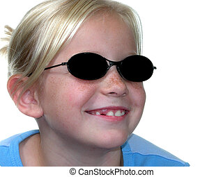 Sunglass Girl - Nine year old blonde girl wearing dark...